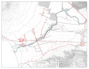 Struttura idrografica ed archeologia: in rosso Pompei, Moreggine (porto romano) e Nucera con le vie di collegamento; in azzurro il tracciato sinuoso del paleo fiume; in nero il tracciato attuale di canali e rii