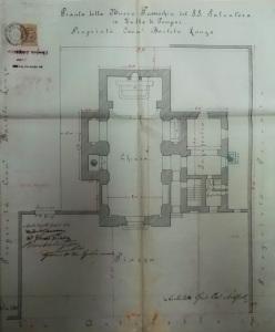 Fig. 10. Rispoli G., Pianta della nuova Parrocchia del SS. Salvatore in Valle di Pompei. Proprietà Comm.r Bartolo Longo (ADNo, Valle di Pompei, a. 1898).