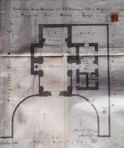 Fig. 9. Rispoli G., Pianta della nuova Parrocchia del SS. Salvatore in Valle di Pompei. Proprietà Comm.r Bartolo Longo (ABL, Sez. 1, f. 4, a. 1897).