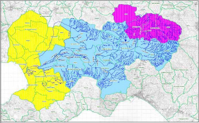 Fig. 1 Bacino del Fiume Sarno (Fonte: Palumbo M., Caratterizzazione e trattamento dei sedimenti del bacino idrografico del fiume Sarno, Università di Napoli)