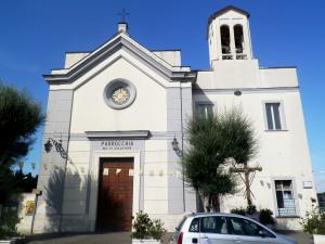 Fig. 7. Pompei, chiesa SS. Salvatore, facciata con adiacente casa canonica.