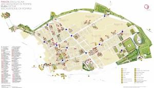 Mappa della città di Pompei con indicazione dei punti di posizionamento delle mappe.
