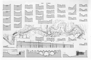 Fig. 7  Tavola sinottica con pianta del vallone e le sezioni di inondazione controllata