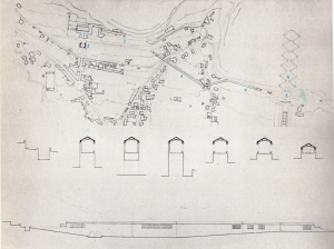 Fig. 9  Disegno del corridore che collega San leucio con la fontana di Diana e Attone del parco della Reggia .