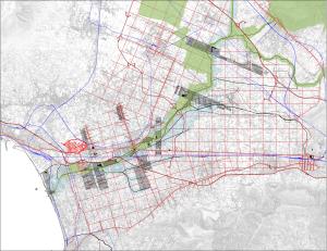 Fig. 1 _  Disegno tratto dal Prin 2009 delle linee strategiche per la piana del Sarno: direttrici longitudinali e 'pendoli' trasversali al fiume