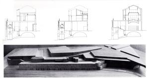 Fig. 4  Sezioni e veduta del modello dei Mulini Vecchi di Murcia