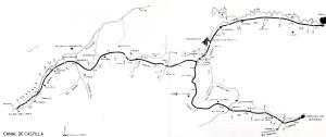 Fig. 3  Percorso del canale di Castiglia con indicazione enumerazione delle chiuse
