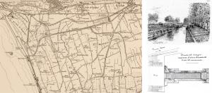 Fig. 15 _  IGM 1909 e due immagini: il Ponte Nuovo (sopra) e il disegno della Vasca di Navigazione (sotto)