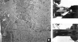 Fig. 16 _ Aerofotogramma IGM 1956 e foto anni '60: Istituto Sperimentale di Tabacchi (sopra) e Ponte Nuovo (sotto)