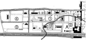 Fig. 21 _  Disegno delle fasi di costruzione del complesso Polverificio Borbonico: 1-1851/55; 2-1855/61; 3-1861/70; 4-dopo il 1870
