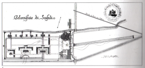 Fig. 19 _  Tavola di progetto 1851 dell'architetto Luigi Manzella: prima fase e seconda fase dell'ex Polverificio Borbonico