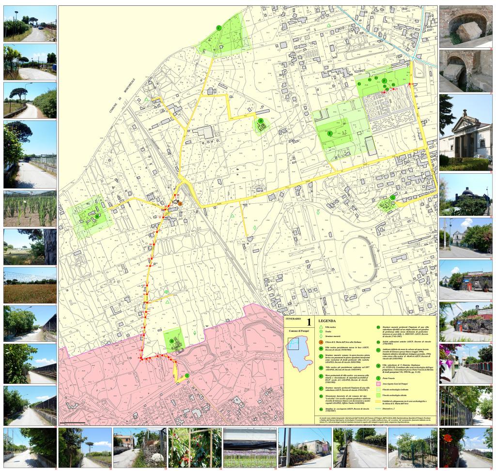 Tav. 1 Proposta di itinerario turistico-culturale per la valorizzazione del patrimonio chiesastico pompeiano.