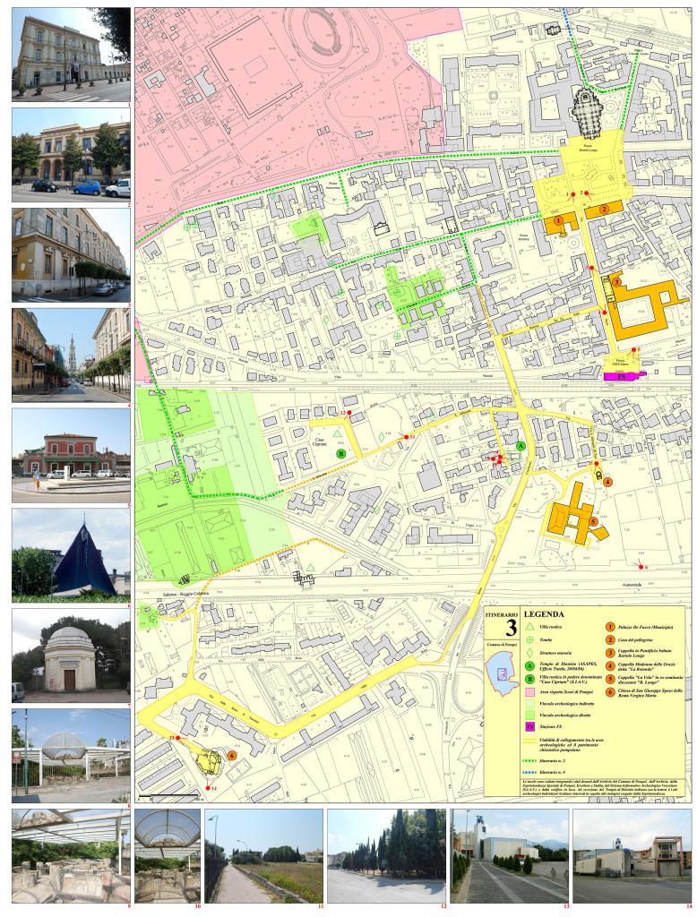 Tav. 3. Proposta di itinerario turistico-culturale per la valorizzazione del patrimonio chiesastico pompeiano.