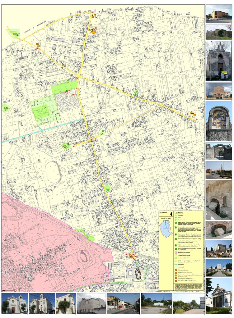 Tav. 4. Proposta di itinerario turistico-culturale per la valorizzazione del patrimonio chiesastico pompeiano.