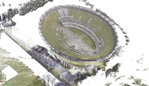 Pompeii, Amphitheater. Point cloud model, axonometric view from south-eastern.