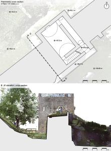 Pompeii, 'Torre di Mercurio'. Planimetric cross section mesh model at 61 meter above sea level.